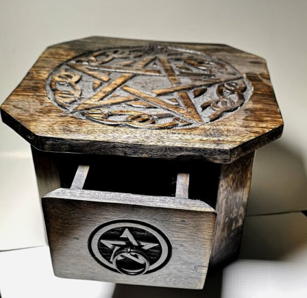 Pentagram Wood Altar Table with open drawer